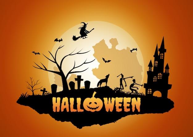 Halloween tło z pływającą wyspą cmentarza i ducha