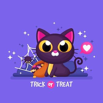Halloween tło z ślicznym kotem