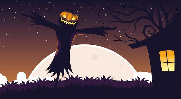 Halloween tło z strach na wróble w ciemnym polu