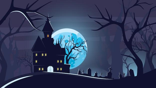 Halloween tło z zamkiem w świetle księżyca.