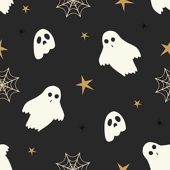 Halloween upiorny duch wektor wzór. motyw w kolorze czarnym i złotym;