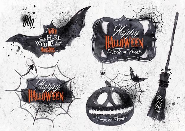 Halloween ustawia, rysujący halloweenowi symbole dyniowi, literowanie i stylizowany rysunek w roczniku ,.
