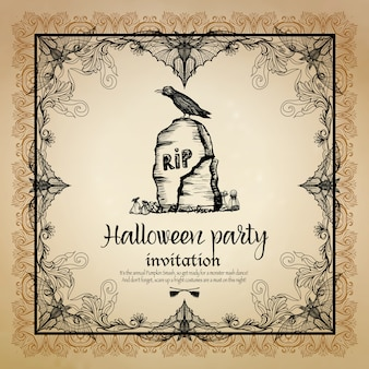 Halloween vintage zaproszenie z ramą