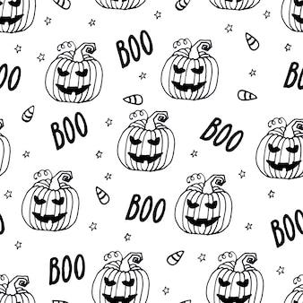 Halloween wakacje bezszwowe tło wzór z ręcznie rysowanymi elementami dyni duch