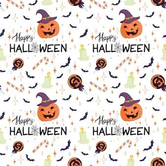 Halloween wakacje bezszwowe tło wzór z ręcznie rysunkowymi elementami - dynia, duch, kot i czaszka. ilustracja wektorowa