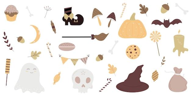 Halloween wakacje ładny element ustawiony na białym tleilustracja wektorowapłaska konstrukcja