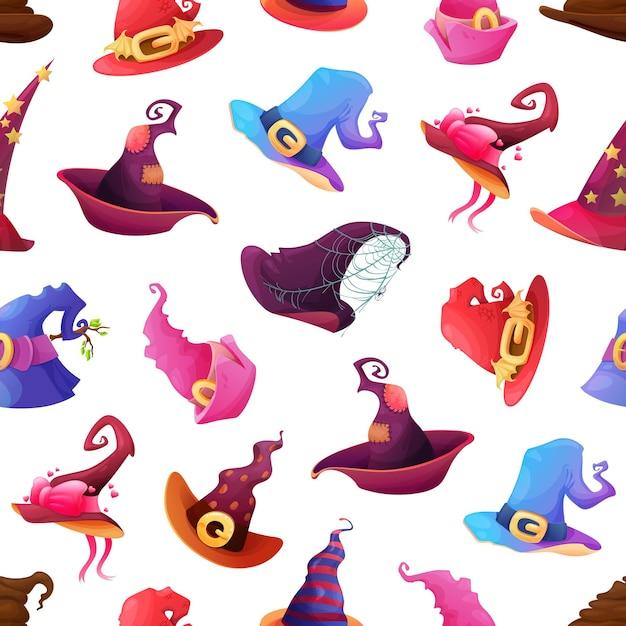 Halloween wakacje wzór z kapeluszami czarownic