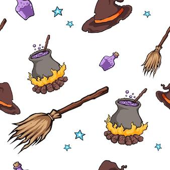Halloween witch hat magic seamless pattern