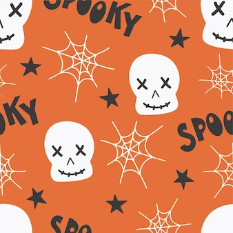 Halloween wzór do projektowania. halloween symbole czaszki, pajęczyna, upiorny napis. papier cyfrowy