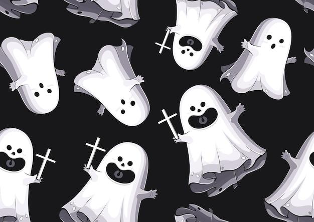 Halloween wzór, duch kreskówka, projektowanie postaci ilustracji, baner, szablon tła lub strony internetowej.
