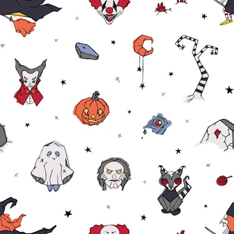 Halloween wzór z przerażające i straszne postacie ręcznie rysowane na białym tle - duch, klaun, wampir, czarownica, jack-o'-lantern. ilustracja wektorowa w stylu bazgroły na papier pakowy.