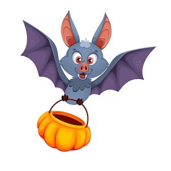 Halloween zabawny nietoperz na białym tle