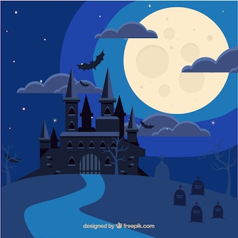 Halloween zamku tła