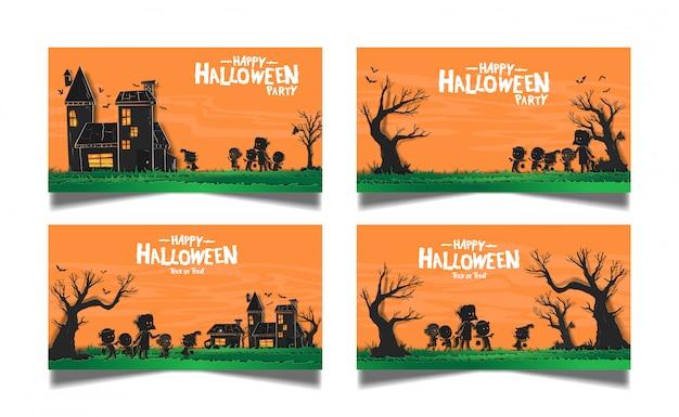 Halloween zestaw banner karty