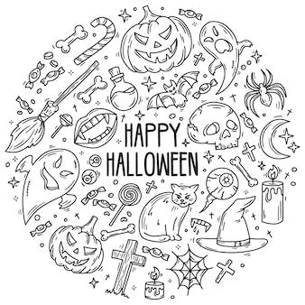 Halloween zestaw ikon wektorowych w stylu doodle horror magia symboli