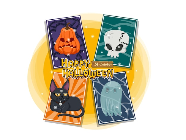 Halloween zestaw kart okolicznościowych wektor ikona. koncepcja kreskówka halloween elementy. wektor clipart ilustracja na białym tle