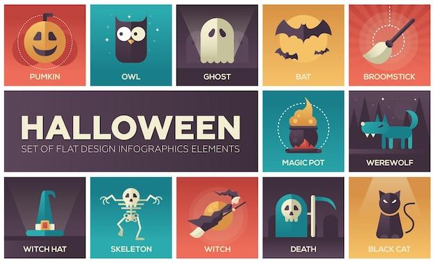 Halloween zestaw nowoczesnych ikon wektorowych płaski kształt z gradientowymi kolorami duch dyni i inne