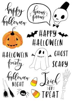 Halloween zestaw z elementami.