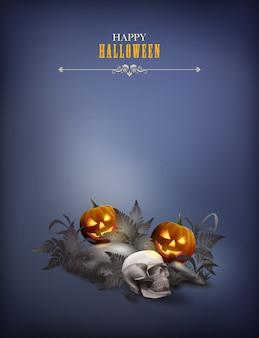 Halloweenowa abstrakcyjna scena z czaszką i dynią