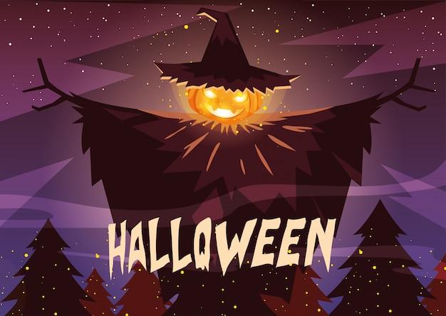 Halloweenowa bania z czarownica kapeluszem w halloween scenie