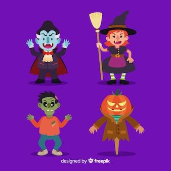 Halloweenowa charakter kolekcja w płaskim projekcie