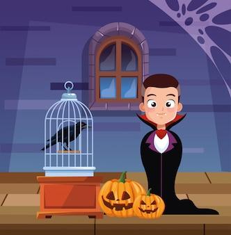 Halloweenowa ciemna ilustracja z chłopiec przebraniem dracula