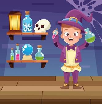 Halloweenowa ciemna ilustracja z dzieciaka magika przebraniem