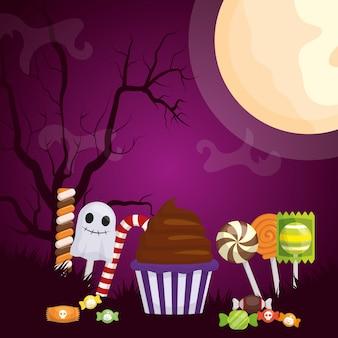 Halloweenowa ciemna ilustracja z ustalonymi cukierkami