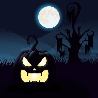 Halloweenowa ciemna noc scena z banią