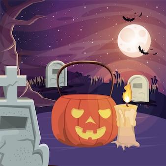 Halloweenowa ciemna scena z banią