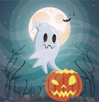 Halloweenowa ciemna scena z duchem