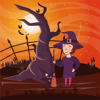Halloweenowa ciemna scena z kobietą przebraną wiedźmą