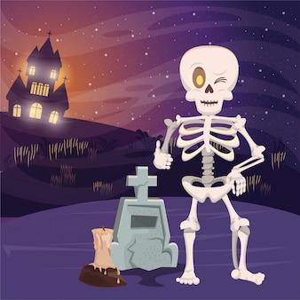 Halloweenowa ciemna scena z koścem
