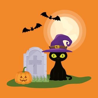 Halloweenowa ciemna scena z kotem na cmentarzu
