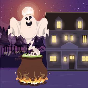 Halloweenowa ciemna scena z kotłem czarownicy