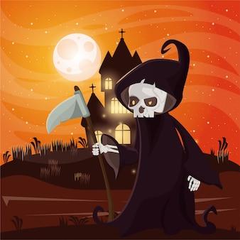 Halloweenowa ciemna scena z osobą przebraną za śmierć