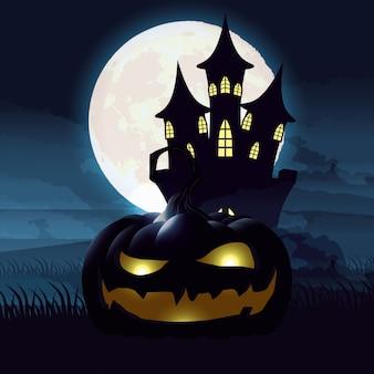 Halloweenowa ciemnej nocy scena z banią i kasztelem