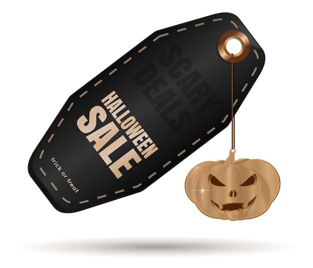 Halloweenowa czarna metka z jack-o-lantern. wyprzedaż na halloween. promocja biznesu na halloween. straszne oferty. ilustracja wektorowa na białym tle