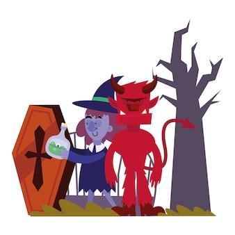 Halloweenowa czarownica i diabeł, wesołe wakacje i straszne