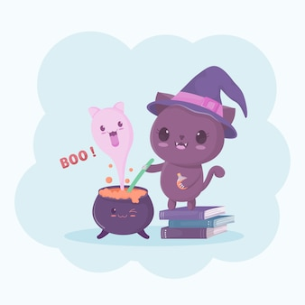 Halloweenowa czarownica kota postać z kreskówki i duch w magicznym garnku.