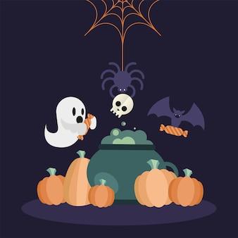 Halloweenowa czarownica miska dynie nietoperz pająk i duch projekt, przerażający motyw