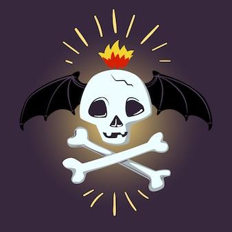 Halloweenowa czaszka i kości. wektor projektowania wydruków, koszulek, plakatów i banerów.