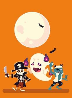 Halloweenowa czaszka pirata z duchem i zombie projekt bajki, ilustracja wakacje i straszny motyw