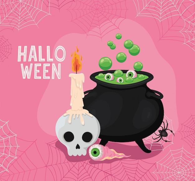 Halloweenowa czaszka z okiem świecy i miską czarownicy, motywem świątecznym i przerażającym