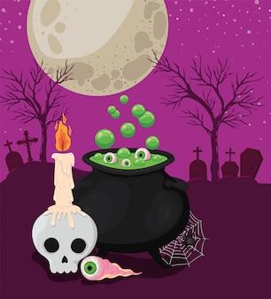 Halloweenowa czaszka z okiem świecy i miską czarownicy przed projektem cmentarza, motyw świąteczny i straszny