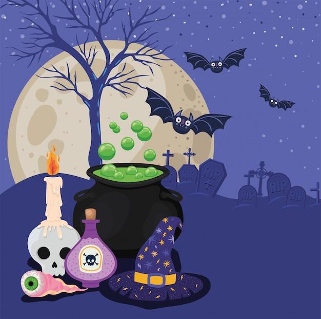 Halloweenowa czaszka z trucizną świec miską czarownicy i kapeluszem przed projektem cmentarza, wakacje i straszny motyw