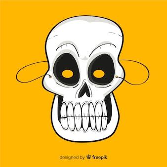 Halloweenowa czaszki maska w ręka rysującym stylu