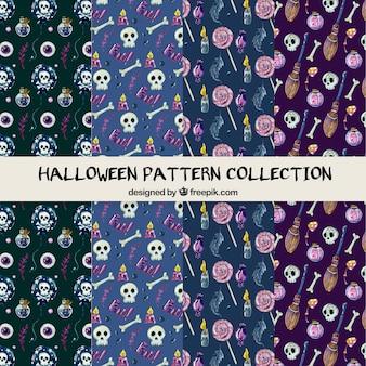 Halloweenowa deseniowa kolekcja w ręka rysującym stylu