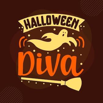 Halloweenowa diva typografia szablon cytatu premium vector design