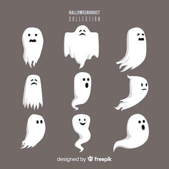Halloweenowa duch charakteru kolekcja z płaskim projektem